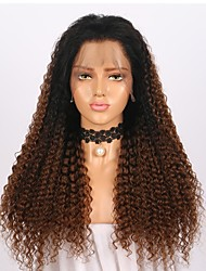 cheap -Women Human Hair Lace Wig Brazilian Remy Glueless Lace Front 150% Density With Baby Hair Curly Wig Black/Medium Browm Long Virgin Natural