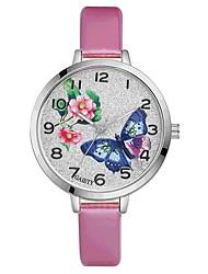 Недорогие -Жен. Наручные часы Китайский Кварцевый Крупный циферблат PU Группа Цветы На каждый день Цветной Elegant Черный Белый Синий Красный