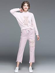 baratos -Mulheres Conjunto - Patchwork, Estampa Animal Calça Colarinho Chinês