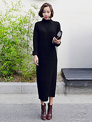Women's Daily Going out Boho Street chic Loose Sweater Dress,Solid Turtleneck Midi Long Sleeves Others Mid Rise Stretchy Medium