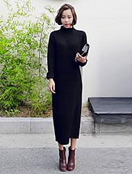 Largo Lavorato a mano Vestito Da donna-Per uscire Casual Boho Moda città Tinta unita A collo alto Medio Manica lunga Altro A vita