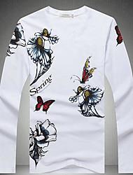 Masculino Camiseta Para Noite Casual Moda de Rua Estampado Poliéster Decote V Manga Longa