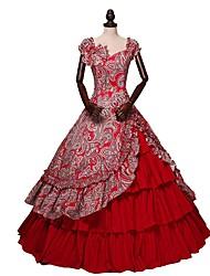 preiswerte -Retro Viktorianisch Kostüm Damen Erwachsene Kleid Rock Rot Vintage Cosplay Baumwollstoff Kurzarm Schmetterling Knöchel-Länge