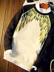 cheap -Men's Daily Short Pullover,Print Round Neck Long Sleeves Cotton Acrylic Winter Medium Micro-elastic