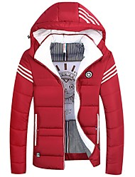 Men's Regular Padded Coat,Casual Daily Going out Solid Striped-Cotton Acrylic Polyester Long Sleeves