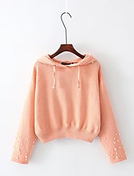 Women's Casual/Daily Simple Short Pullover,Solid Hooded Long Sleeves Others Winter Medium Thick Micro-elastic