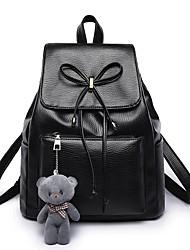 Недорогие -Жен. Мешки Полиуретан рюкзак Молнии для Повседневные на открытом воздухе Зима Осень Черный