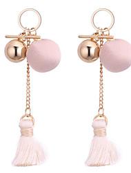 baratos -Mulheres Borla Brincos Compridos - Borla Fashion Preto Verde Rosa claro Bola Brincos Para Diário
