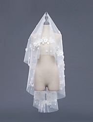 cheap -One-tier Accent/Decorative Bridal Wedding Veil Fingertip Veils With Laces Embroidery Lace Tulle