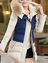 Women's Long Padded Coat Plus Size Solid-Polyester Polyester Long Sleeves Hooded