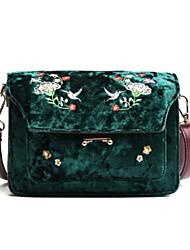 Women Bags Velvet Crossbody Bag Zipper for Casual All Seasons Dark Green Brown Wine