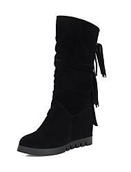 cheap -Women's Shoes Leatherette Winter Snow Boots Riding Boots Boots Wedge Heel Round Toe Mid-Calf Boots for Casual Black Yellow Brown