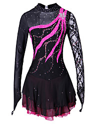 Figure Skating Dress Women's Girls' Ice Skating Dress Spandex Lace Rhinestone Performance Skating Wear Handmade Solid Fashion Long Sleeves