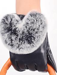Feminino Cor Pura Acessórios Casual Luvas de Inverno Prova-de-Água Mantenha Quente A prova de Vento Fashion Pêlo de Coelho Pele de