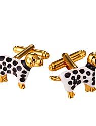 baratos -Animal Prata Dourado Botões de Punho Latão Pedaço de Platina Chapeado Dourado Animais Lazer Festa de Noite Encontro Homens Jóias de