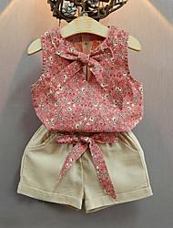 preiswerte -Mädchen Kleidungs Set Einfache Vintage Baumwolle Acryl Elasthan Ganzjährig Ärmellos Niedlich Freizeit Aktiv Rosa Leicht Blau