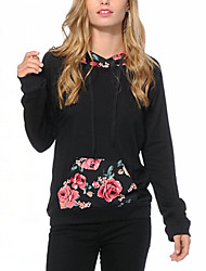 cheap -Women's Daily Holiday Hoodie Print Polyester