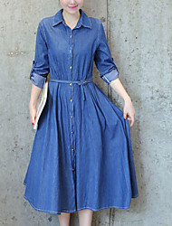 cheap -Women's Daily Casual Denim Dress,Solid Shirt Collar Midi Long Sleeves Polyester Summer Mid Rise Inelastic Thin