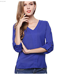 cheap -Women's Daily Wear Work Street chic All Seasons Shirt,Solid V Neck Long Sleeves Polyester