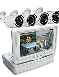 4 Channel Security Camera System 7 inch LCD 1080N AHD DVR 1.0MP Weatherproof Cameras with Night Vision