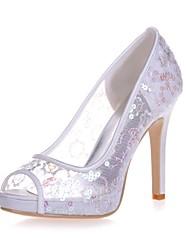 preiswerte -Damen Schuhe Paillette Frühling Sommer Pumps Hochzeit Schuhe Stöckelabsatz Peep Toe für Hochzeit Party & Festivität Weiß Rot Rosa