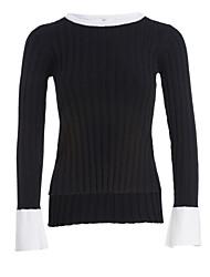 preiswerte -Damen Standard Pullover-Lässig/Alltäglich Einfach Solide Rundhalsausschnitt Langarm Acryl Herbst Winter Mittel Mikro-elastisch