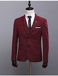 Men's Daily Simple Casual Winter Fall Blazer,Polka Dot Notch Long Sleeve Short Nylon