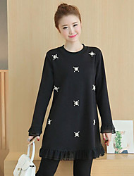 cheap -Women's Daily A Line Dress,Color Block Round Neck Above Knee Long Sleeves Cotton Winter Autumn Mid Rise Micro-elastic Medium