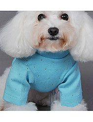 cheap -Dog Sweater Dog Clothes Casual/Daily Solid Green Blue Pink Costume For Pets