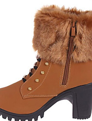 Feminino Sapatos Borracha Courino Inverno Coturnos Botas Botas Curtas / Ankle Para Casual Preto Marron