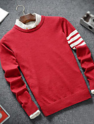 cheap -Men's Long Sleeves Pullover - Color Block, Stripe Round Neck