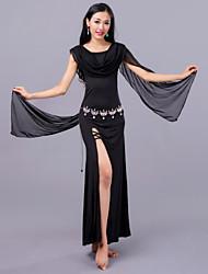 Dança do Ventre Vestidos Mulheres Treino Tule Fibra de Leite Em Camadas Caído Vestidos