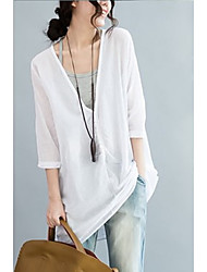 cheap -Women's Daily Wear Vintage Sophisticated Shirt,Solid Deep V 3/4 Length Sleeves Cotton Linen
