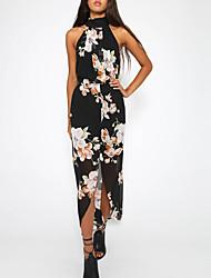 Недорогие -Для женщин На выход На каждый день Простой Секси Шифон Платье Цветочный принт Контрастных цветов,Вырез под горло Ассиметричное Без рукавов