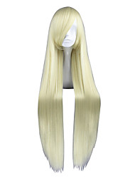economico -Donna Parrucche sintetiche Lungo Kinky liscia Giallo Parrucca di treccine Parrucca Cosplay Parrucca per travestimenti
