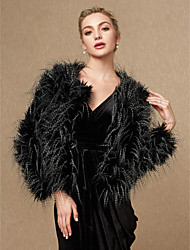 cheap -Long Sleeves Faux Fur Wedding Party / Evening Women's Wrap Coats / Jackets