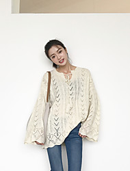 Women's Casual/Daily Regular Pullover,Solid V Neck Long Sleeves Cotton Acrylic Medium Micro-elastic