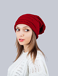 Для женщин Для офиса На каждый день Широкополая шляпа,Зима Вязанная Однотонный Трикотаж Коричневый Красный