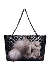 cheap -Women's Bags PU(Polyurethane) Tote Feathers / Fur Blue / Black / Red