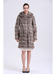 Women's Going out Simple Casual Winter Fur Coat,Solid Long Sleeves Long Fox Fur