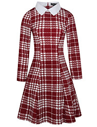 cheap -Women's Daily Wear Work Vintage Casual Sheath Swing Dress,Houndstooth Vintage Shirt Collar Knee-length Long Sleeve Cotton Polyester