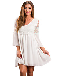 Women's Holiday Going out Boho Loose Dress,Solid V Neck Above Knee Long Sleeves Polyester Elastane Autumn High Waist Stretchy Medium