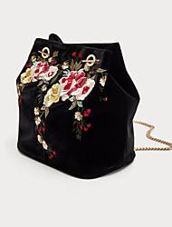 cheap -Women Bags Velvet Crossbody Bag Embroidery for Casual All Season Black