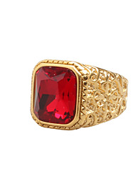 cheap -Men's Cubic Zirconia Band Ring - Vintage, Rock, Hip-Hop 8 / 9 / 10 Red For Daily / Casual