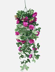 abordables -1 Une succursale Soie Roses Corbeille Fleur Fleurs artificielles