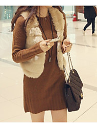 cheap -Women's Simple / Casual Faux Fur Vest - Solid Colored V Neck / Fall / Winter