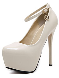 cheap -Women's Shoes Leatherette Spring / Fall Novelty Heels Stiletto Heel Pointed Toe Buckle Black / Beige / Wedding / Party & Evening