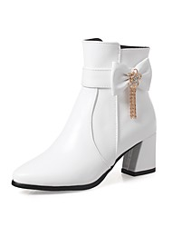 cheap -Women's Shoes Leatherette Winter Fall Fashion Boots Boots Round Toe Booties/Ankle Boots Buckle for Casual Dress White Black Pink Almond