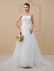 cheap -A-Line / Princess Strapless Chapel Train Tulle / Glitter Lace Made-To-Measure Wedding Dresses with Beading / Sequin / Lace by LAN TING BRIDE® / Sparkle & Shine / Open Back