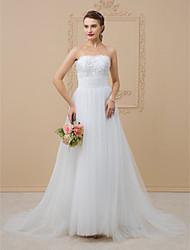 Linha A Princesa Sem Alças Cauda Capela Renda Tule Vestido de casamento com Miçangas Renda Lantejoulas de LAN TING BRIDE®